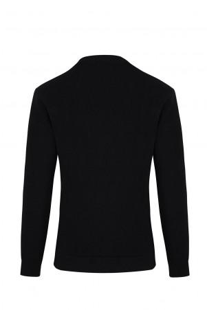 Siyah Bisiklet Yaka Slim Fit Sweatshirt - Thumbnail