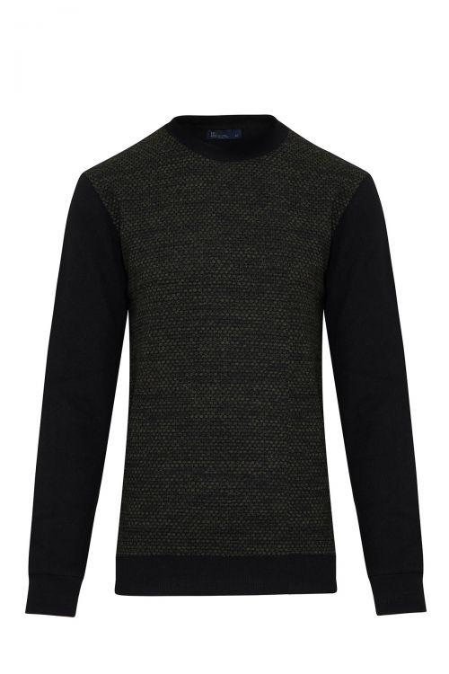 Siyah Bisiklet Yaka Slim Fit Sweatshirt