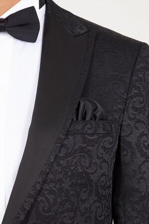 Siyah Slim Fit Sivri Yaka Desenli Damatlık - Thumbnail