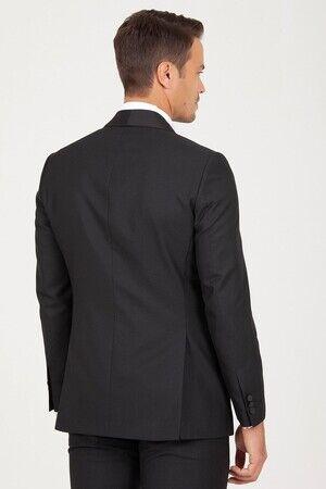 Siyah Slim Fit Şal Yaka Desenli Damatlık