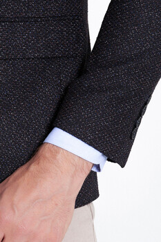 Siyah Desenli Slim Fit Ceket - Thumbnail
