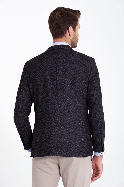 Siyah Desenli Slim Fit Ceket