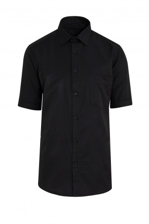 Siyah Kısa Kol Desenli Gömlek - Thumbnail
