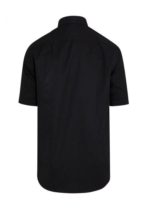 Siyah Kısa Kol Desenli Gömlek