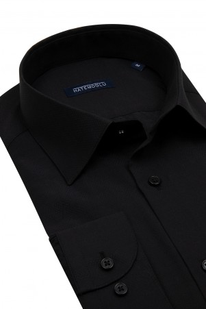 Siyah Armürlü Klasik Gömlek - Thumbnail