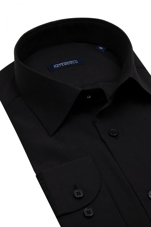 Siyah Armürlü Klasik Gömlek