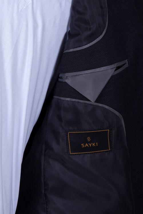 Siyah Slim Fit Yün Takım Elbise