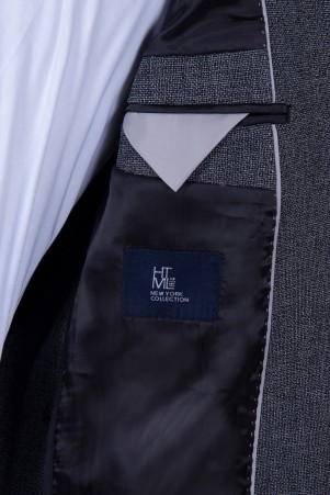 Siyah Desenli Slim Fit Takım Elbise - Thumbnail
