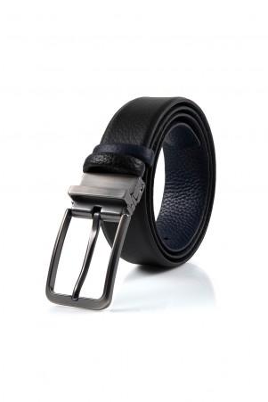 Siyah-Lacivert Deri Kemer - Thumbnail