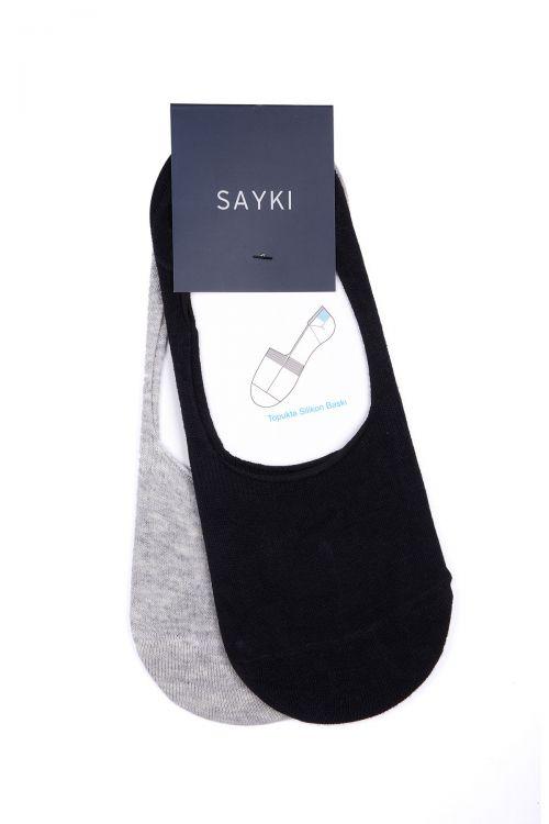 Siyah Gri 2'li Görünmez Çorap