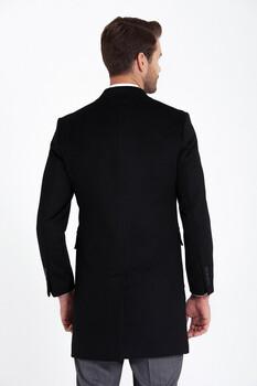 Siyah Kırlangıç Yaka Yün Palto - Thumbnail