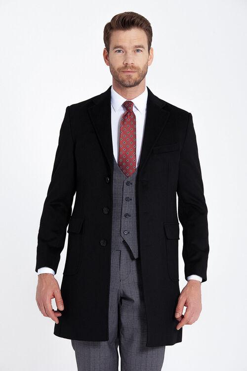 Siyah Kırlangıç Yaka Yün Palto