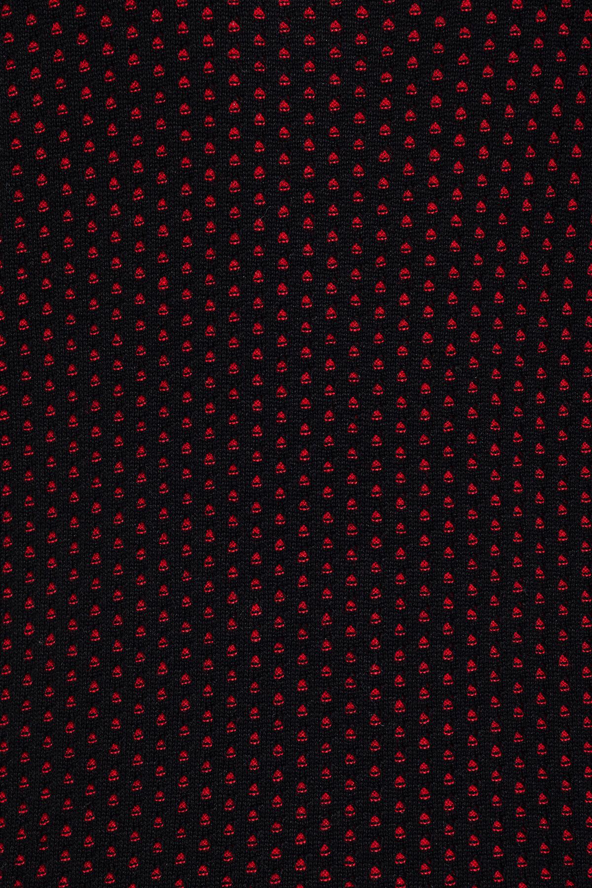 Kırmızı Desenli Bisiklet Yaka Siyah Kazak
