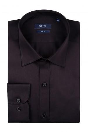 Siyah Slim Fit Spor Gömlek - Thumbnail