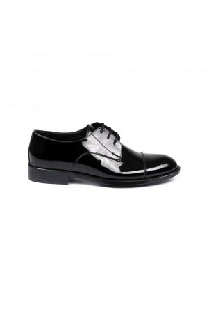 Siyah Rugan Deri Ayakkabı - Thumbnail