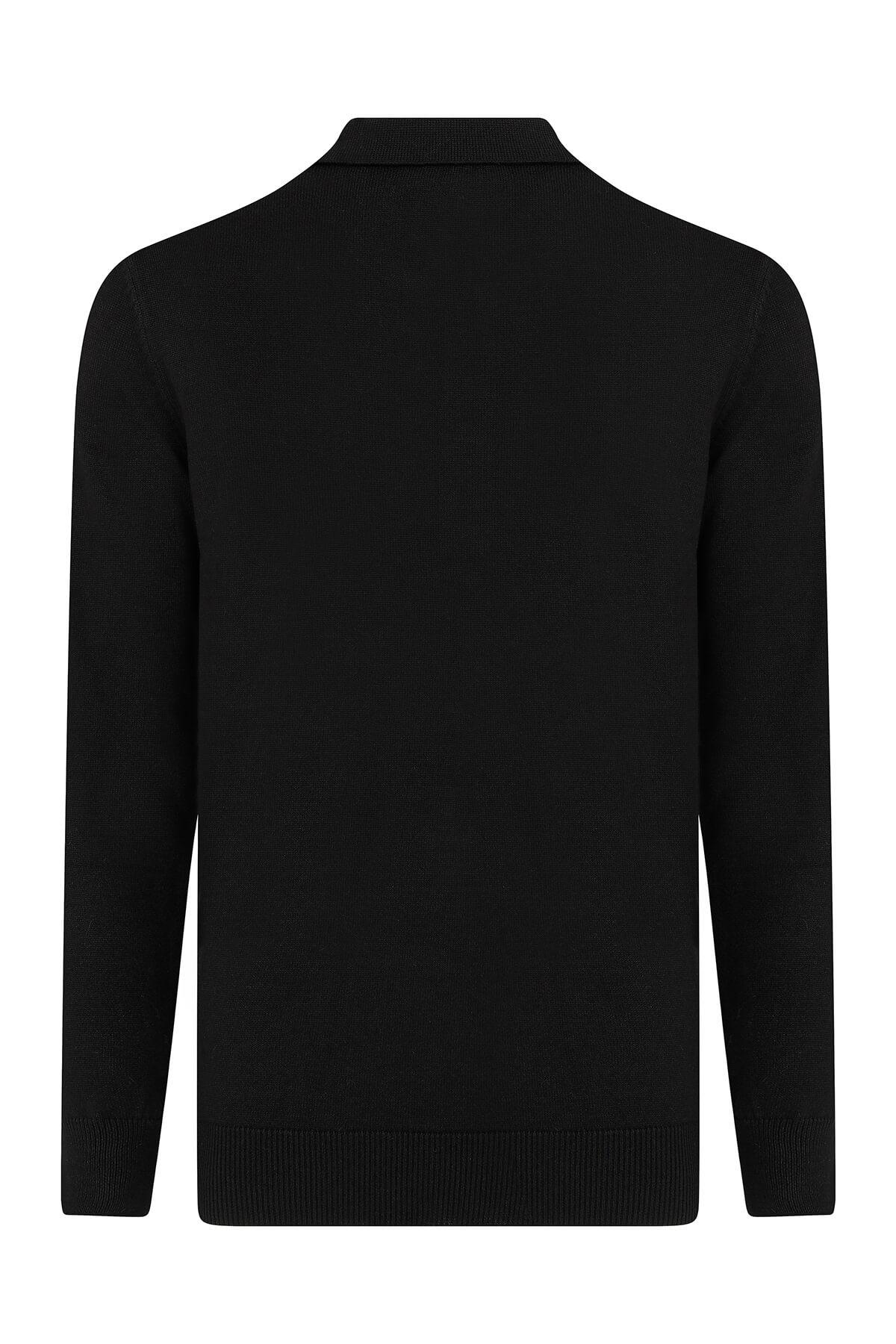 Siyah Polo Yaka Kazak - Thumbnail