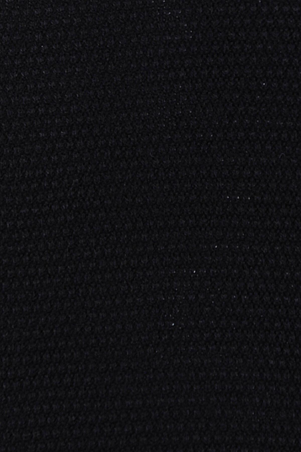 Siyah Desenli V Yaka Triko Kazak - Thumbnail