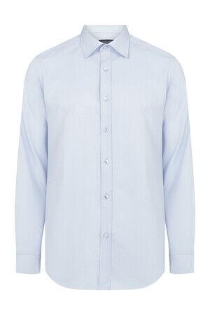 Slim Fit Armürlü Açık Mavi Gömlek