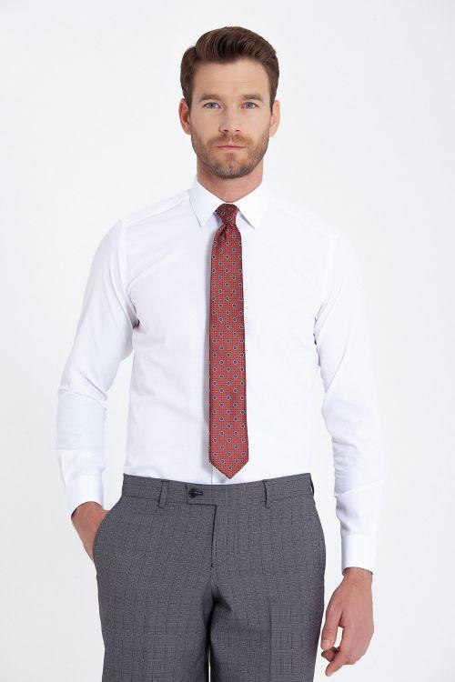 Slim Fit Armürlü Beyaz Gömlek