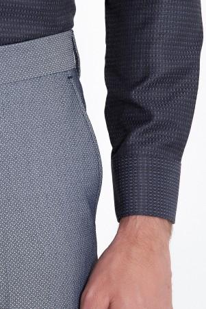 Slim Fit Armürlü Siyah Gömlek - Thumbnail