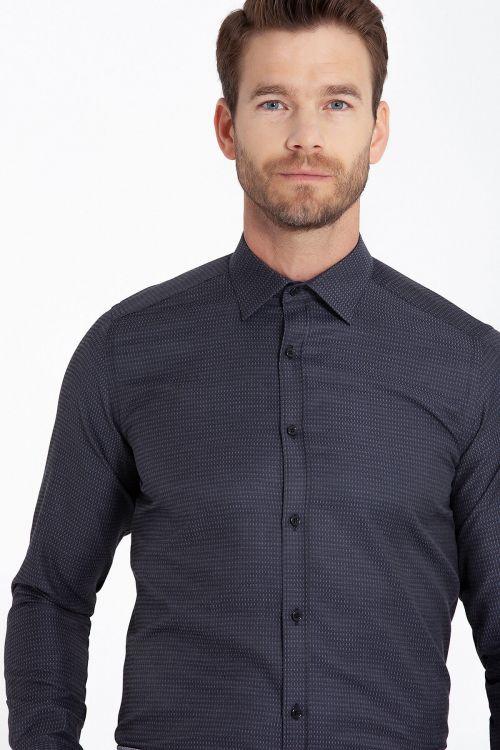 Slim Fit Armürlü Siyah Gömlek