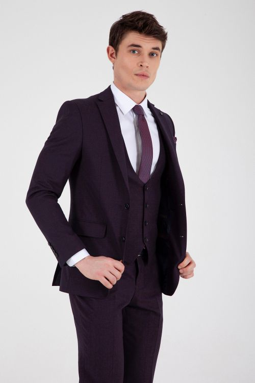 Bordo Slim Fit Yelekli Takım Elbise