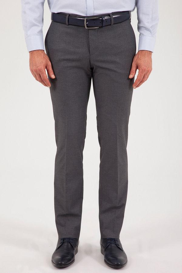 Gri Slim Fit Yünlü Kumaş Pantolon