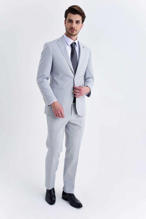 Açık Gri Slim Fit Takım Elbise