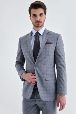Gri Slim Fit Takım Elbise - Thumbnail