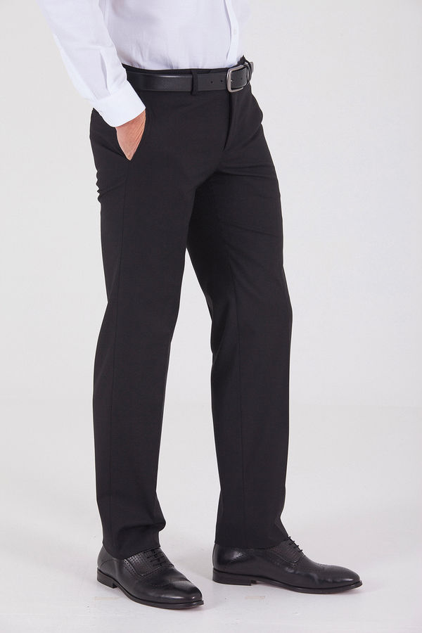 Siyah Slim Fit Yünlü Kumaş Pantolon