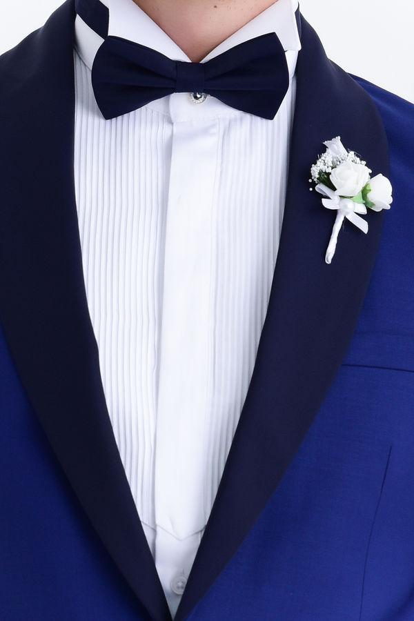 Mavi Slim Fit Şal Yaka Damatlık