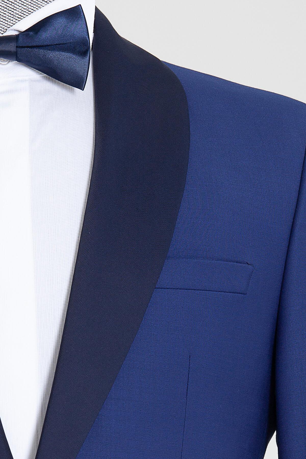 Mavi Slim Fit Şal Yaka Damatlık - Thumbnail