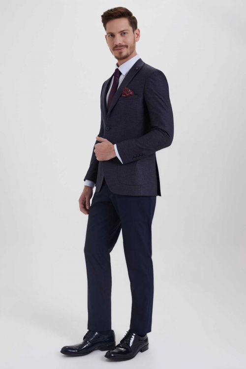 Lacivert Desenli Slim Fit Takım Elbise