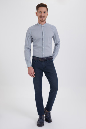 Lacivert Slim Fit Kot Pantolon - Thumbnail