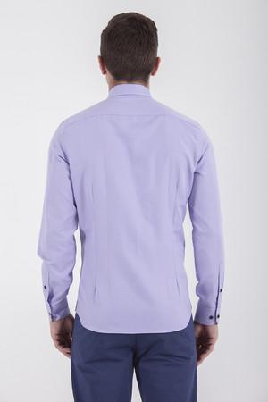 Slim Fit Lila Spor Gömlek - Thumbnail