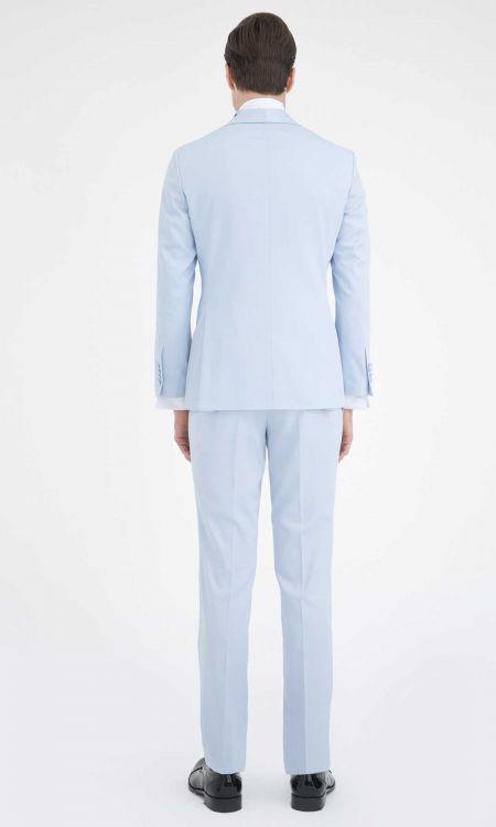 Slim Fit Mavi Damatlık/Smokin