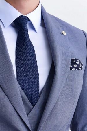 Mavi Desenli Yelekli Takım Elbise - Thumbnail