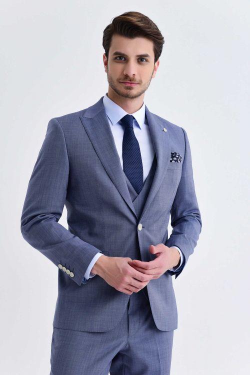 Mavi Desenli Yelekli Takım Elbise
