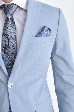Açık Mavi Slim Fit Takım Elbise - Thumbnail