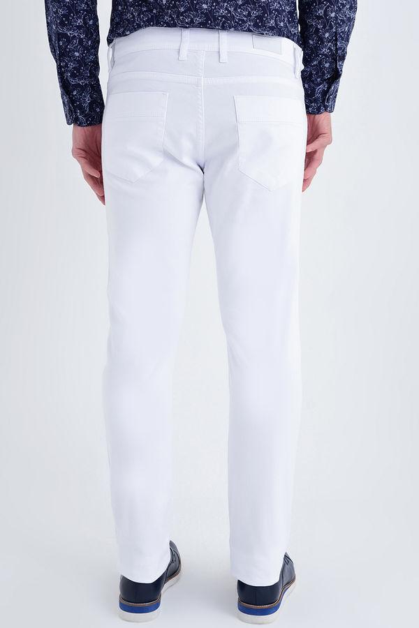 Slim Fit Petek Beyaz Pantolon