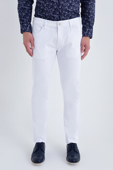 Slim Fit Petek Beyaz Pantolon - Thumbnail
