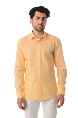 Slim Fit Sarı Gömlek - Thumbnail