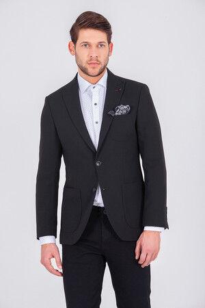 Siyah Slim Fit Klasik Blazer Ceket