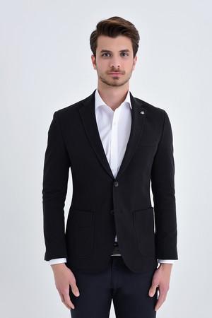 Siyah Slim Fit Blazer Ceket - Thumbnail