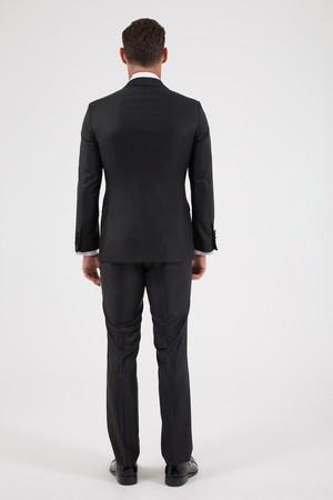 Siyah Slim Fit Şal Yaka Damatlık - Thumbnail