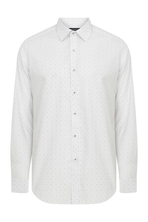 Slim Fit Desenli Beyaz Spor Gömlek - Thumbnail