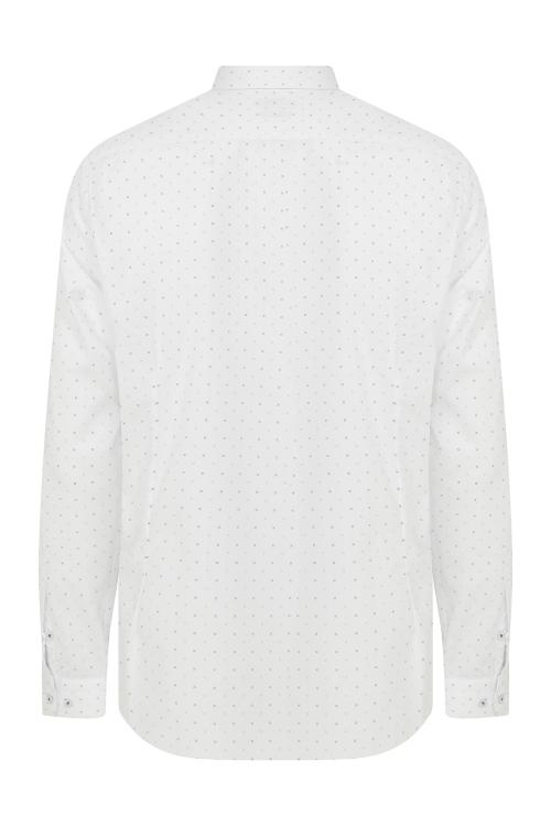 Slim Fit Desenli Beyaz Spor Gömlek