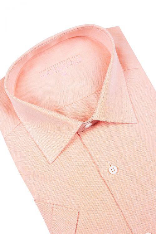 Turuncu Kısa Kol Klasik Gömlek