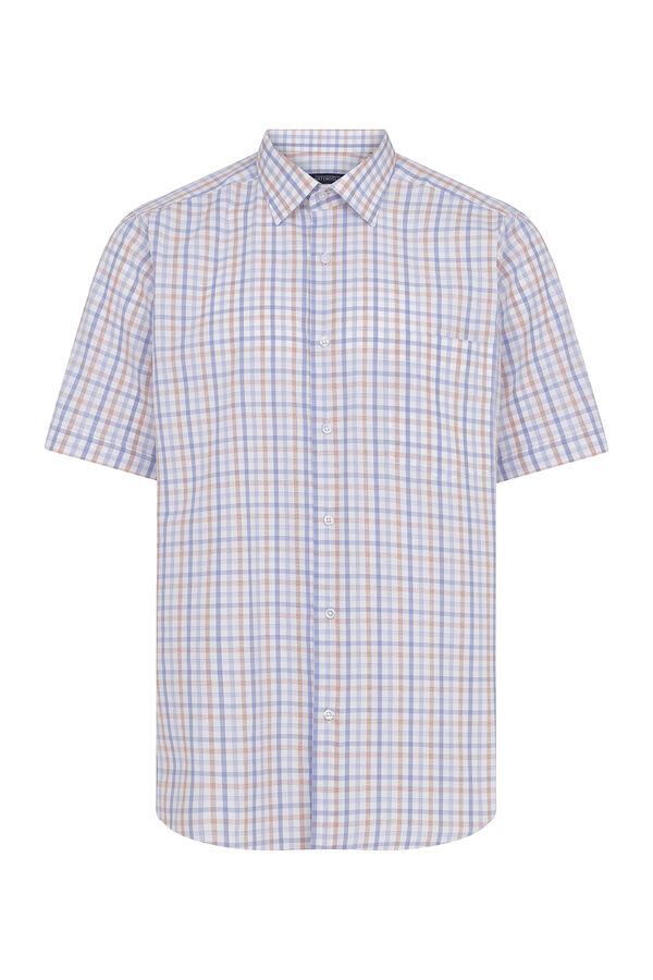 Kısa Kol Turuncu Kareli Klasik Gömlek