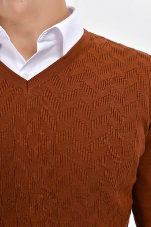 Kahverengi V Yaka Pamuklu Triko Kazak - Thumbnail